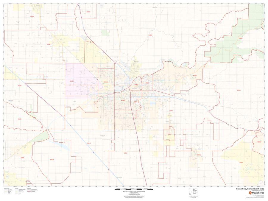 Bakersfield ZIP Code Map