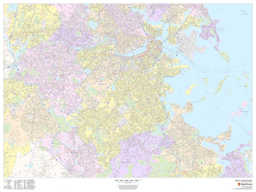 Boston Massachusetts Landscape Map