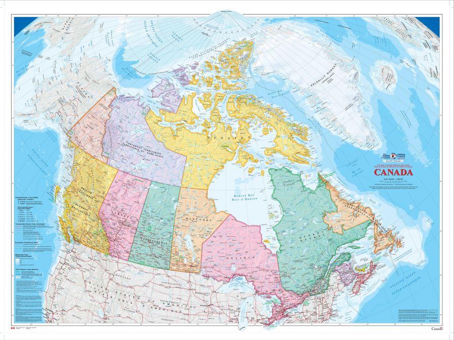 Canada Wall Map 2009 Bilingual Atlas Of Canada