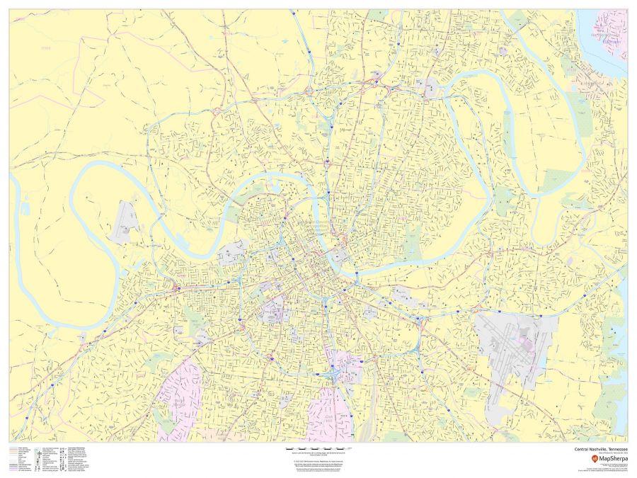 Central Nashville Tennessee Landscape Map