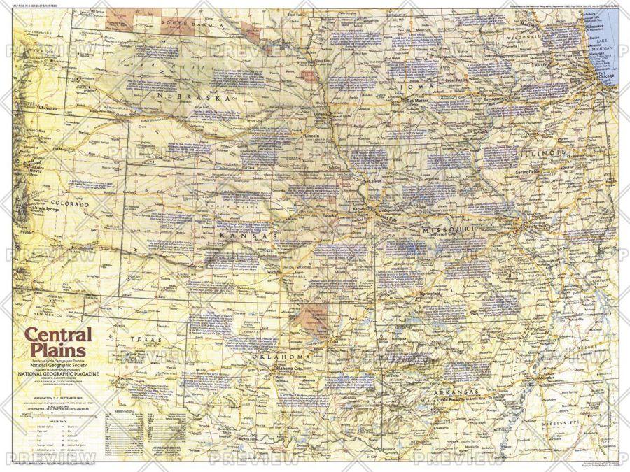 Central Plains Map Side 1 Published 1985
