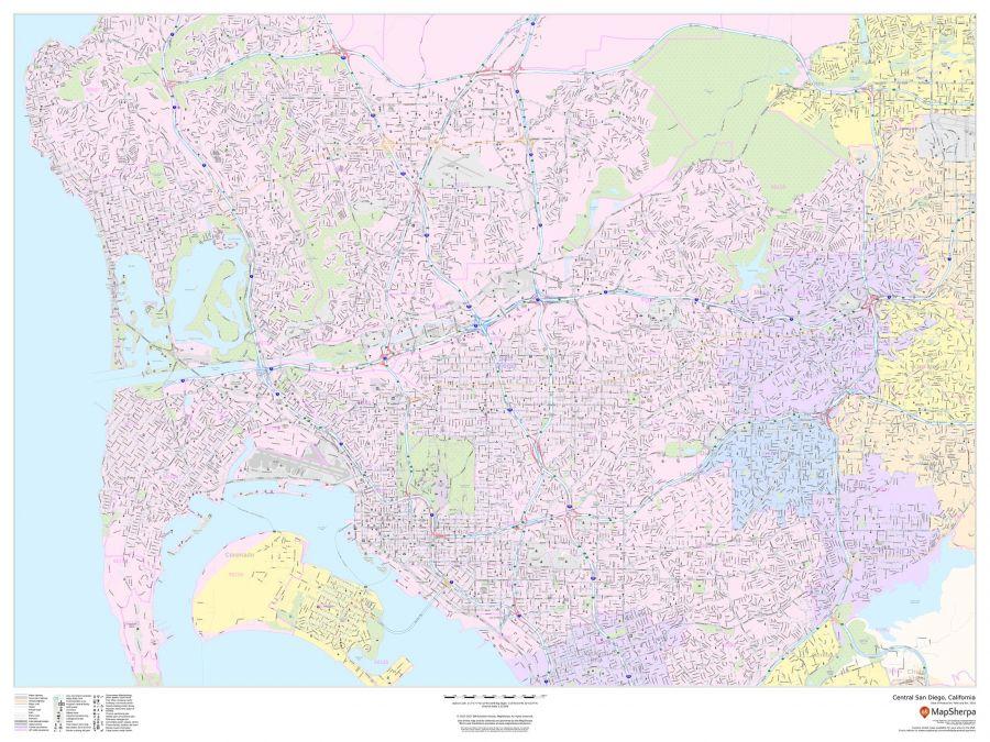 Central San Diego California Landscape Map