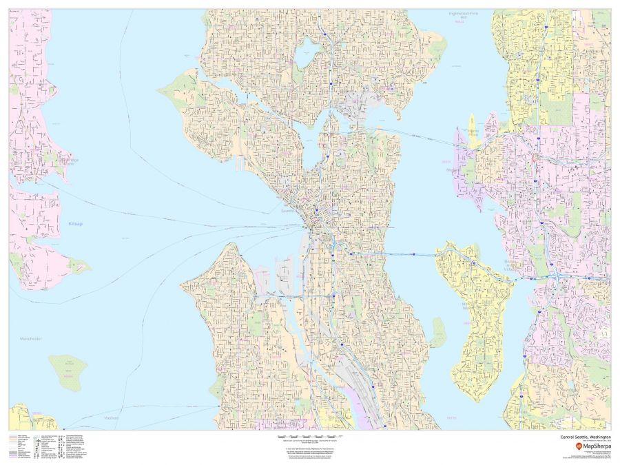 Central Seattle Washington Landscape Map