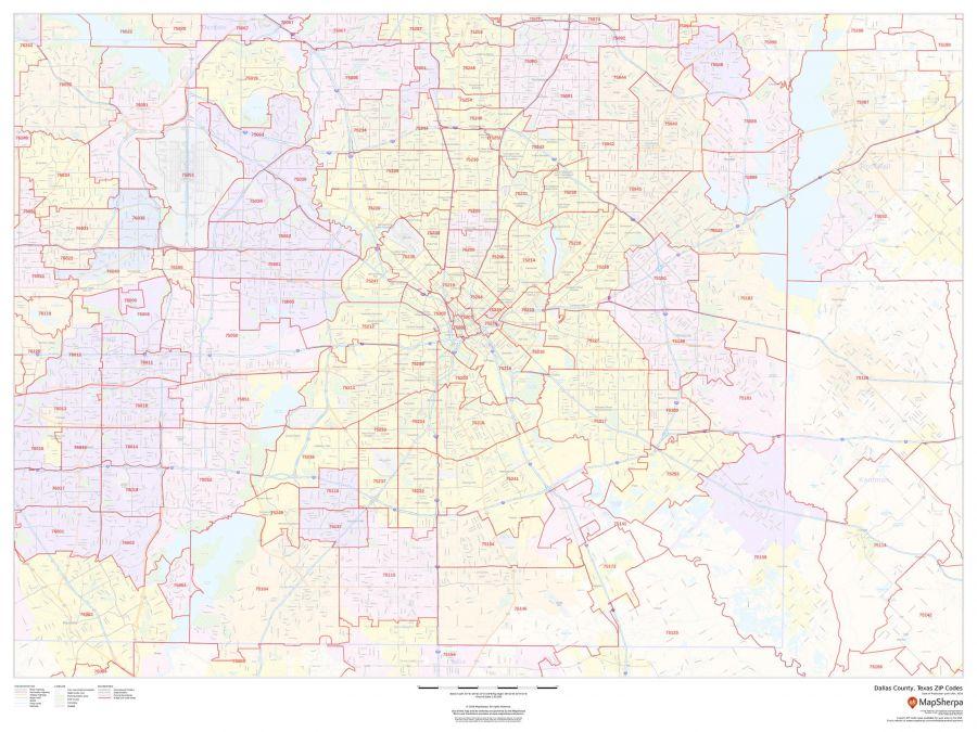 Dallas County Texas Zip Codes Map