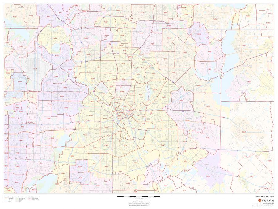 Dallas Texas Zip Codes Map