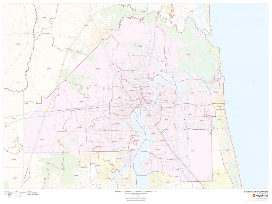 Jacksonville Florida Zip Codes Map