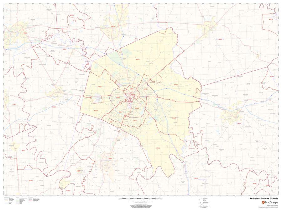 Lexington ZIP Code Map