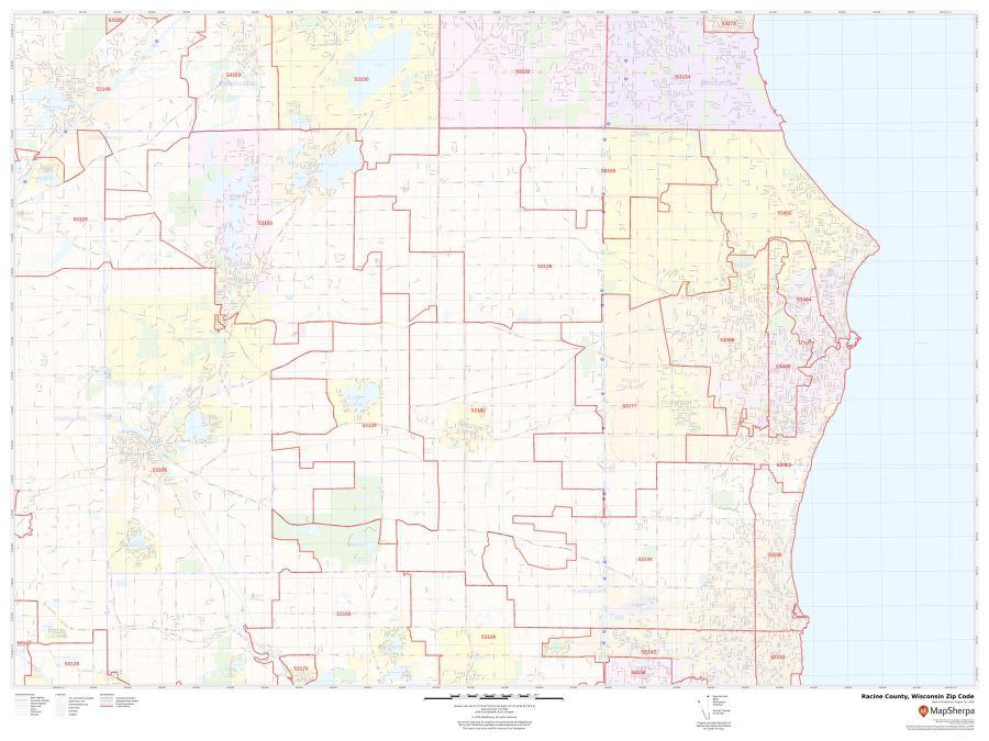 Racine County Zip Code Map