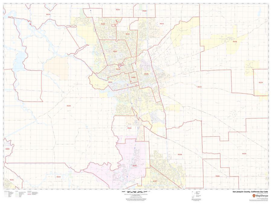 San Joaquin County Zip Code Map