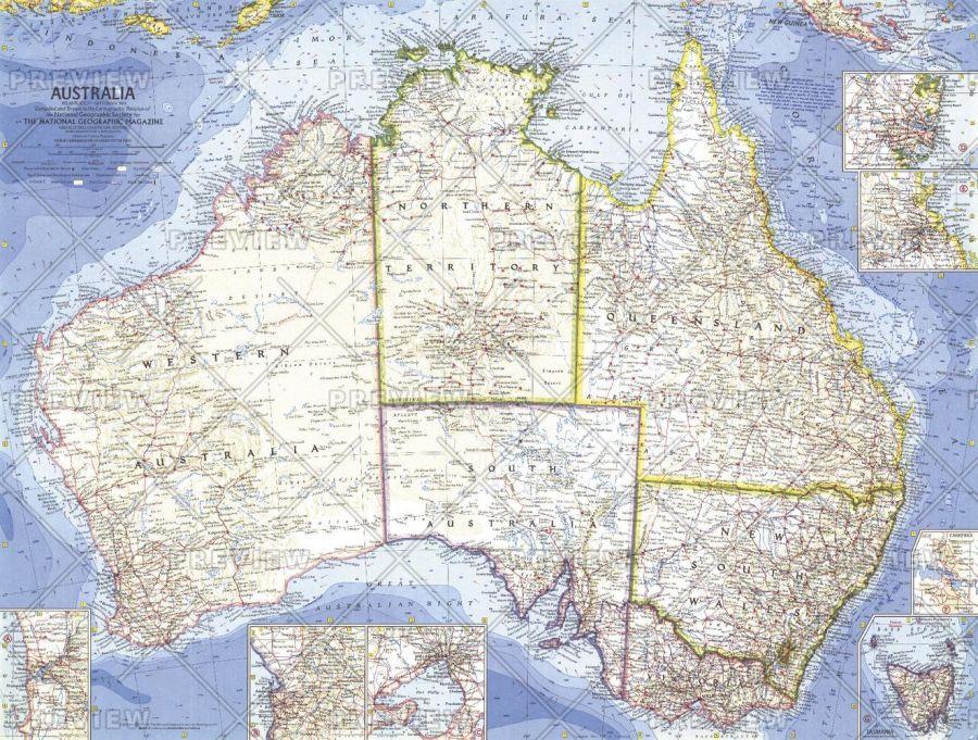 Australia Published 1963 Map