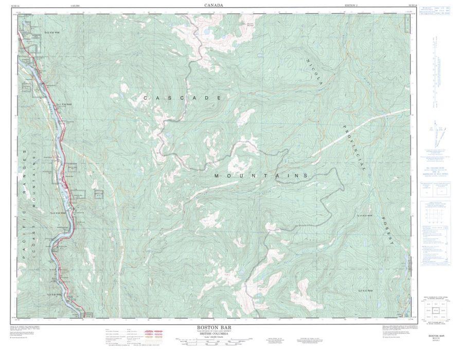 Boston Bar - 92 H/14 - British Columbia Map