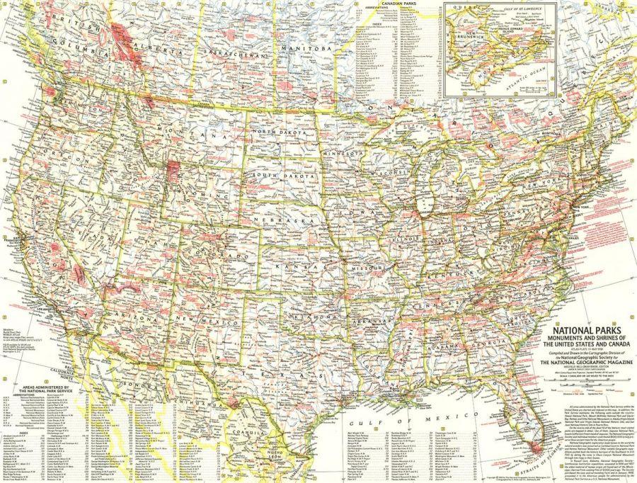National Parks Published 1958 Map