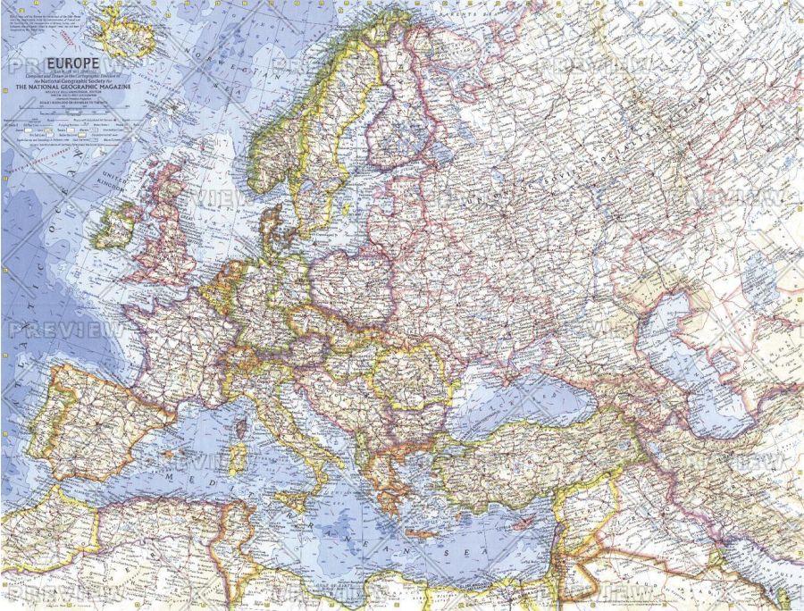 Europe Published 1962 Map