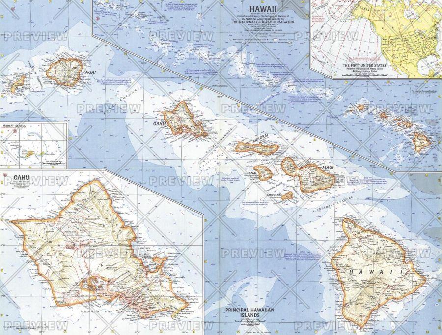 Hawaii Published 1960 Map
