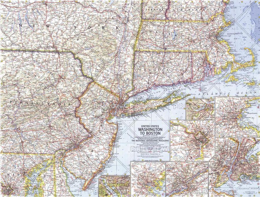 United States Washington To Boston Published 1962 Map