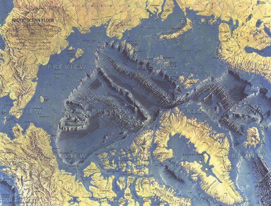 Arctic Ocean Floor Published 1971 Map