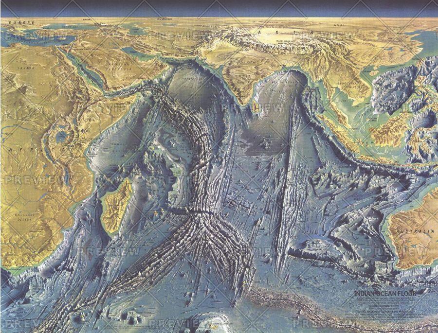 Indian Ocean Floor Published 1967 Map
