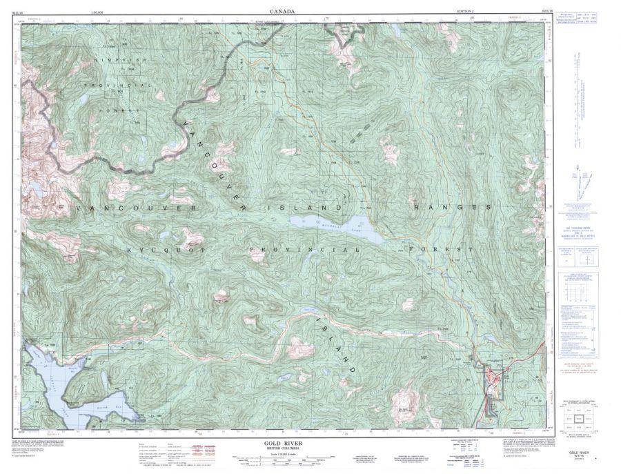 Gold River - 92 E/16 - British Columbia Map