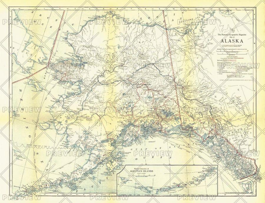 Alaska Published 1914 Map