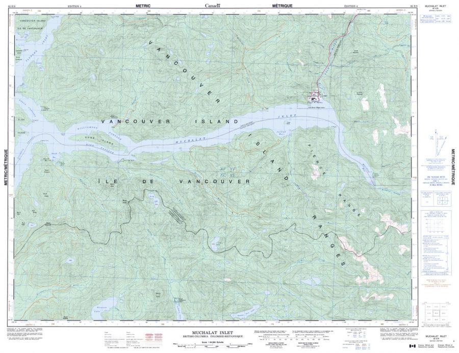 Muchalat Inlet - 92 E/9 - British Columbia Map
