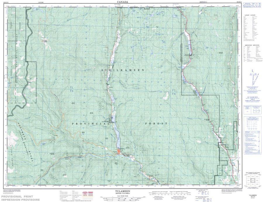 Tulameen - 92 H/10 - British Columbia Map