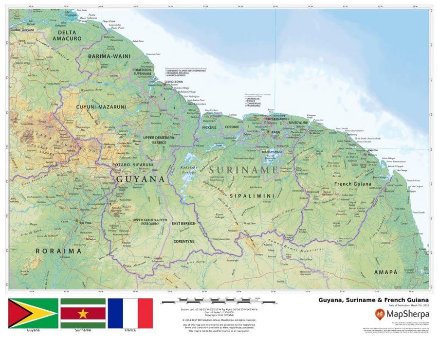 Guyana Surinam French Guiana Map