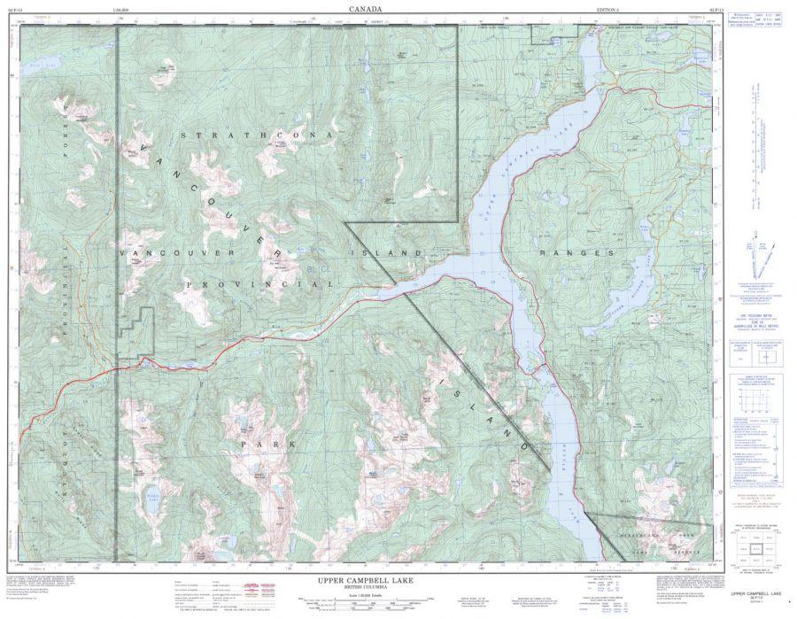 Upper Campbell Lake - 92 F/13 - British Columbia Map