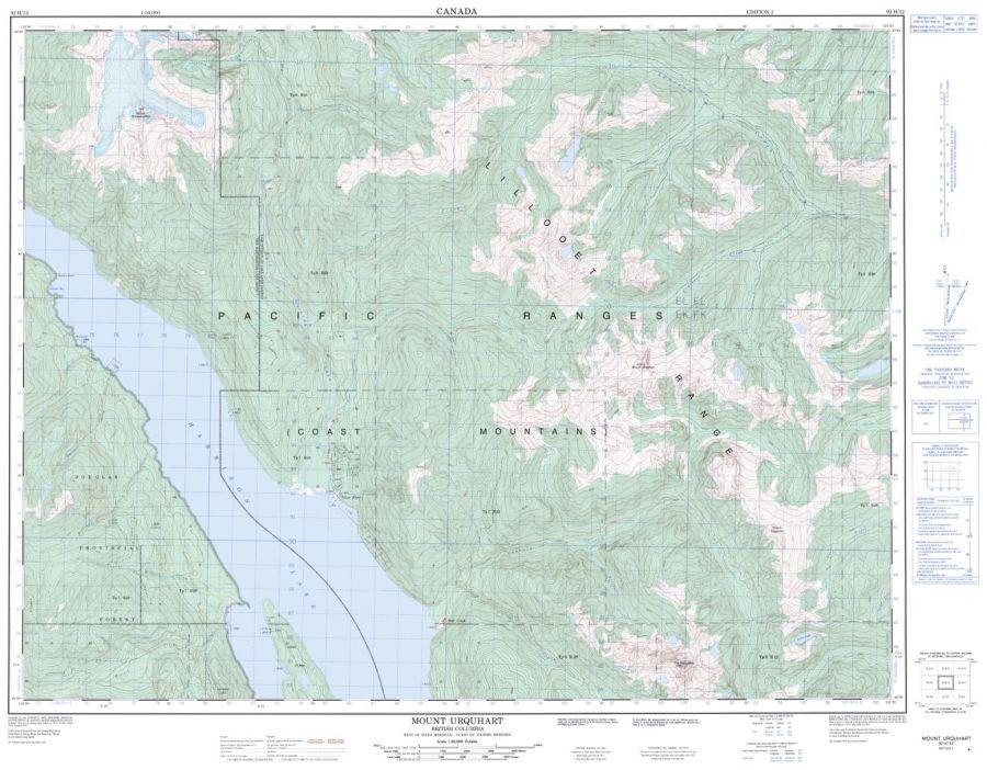 Mount Urquhart - 92 H/12 - British Columbia Map
