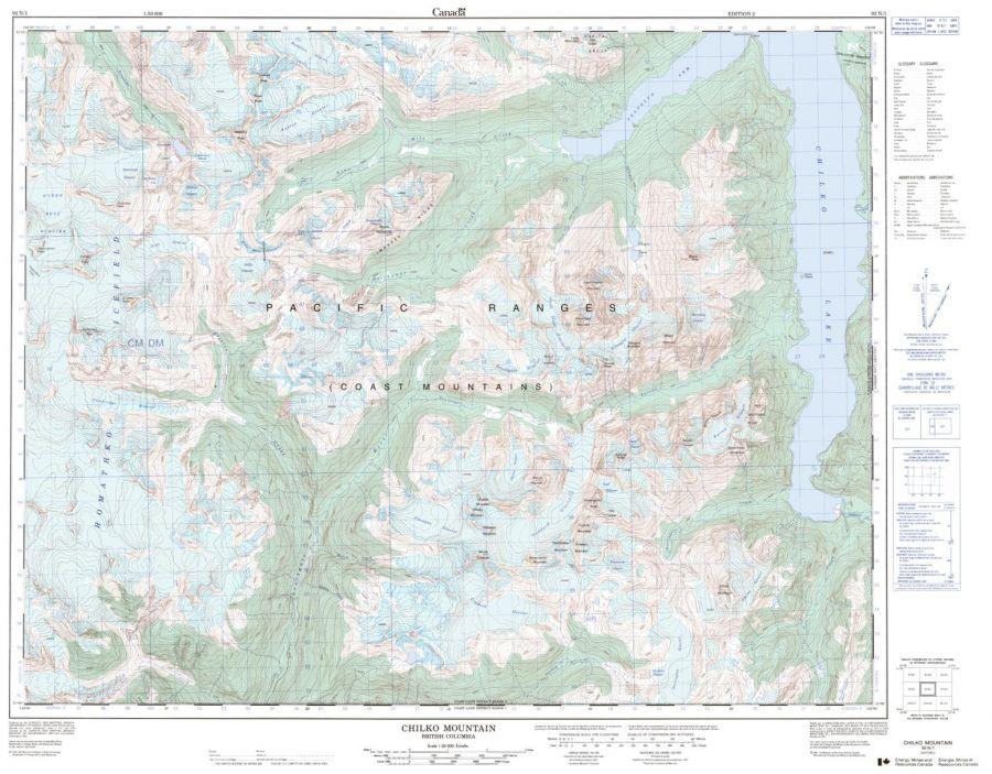 Chilko Mountain - 92 N/1 - British Columbia Map