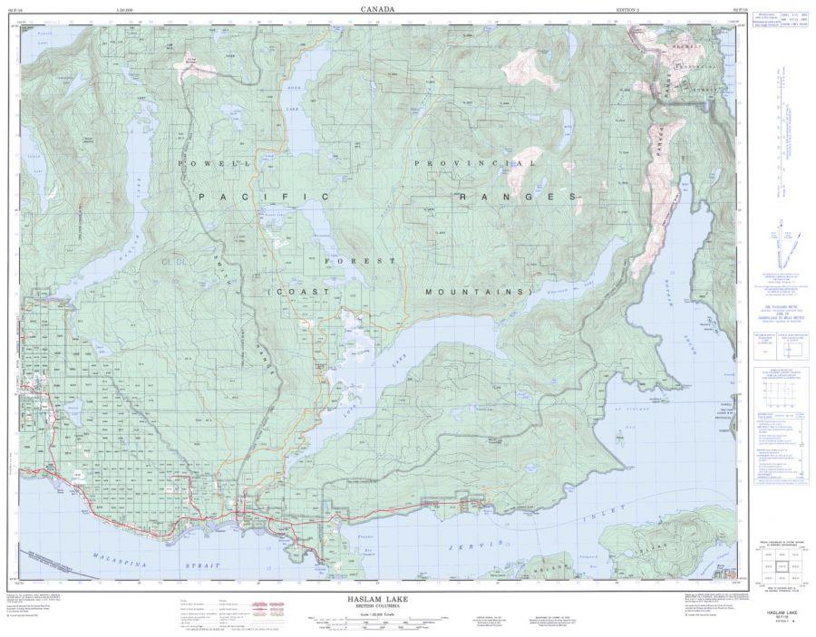Haslam Lake - 92 F/16 - British Columbia Map