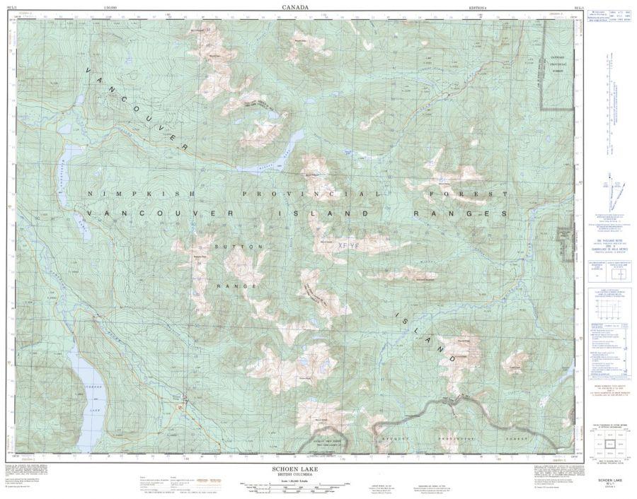 Schoen Lake - 92 L/1 - British Columbia Map