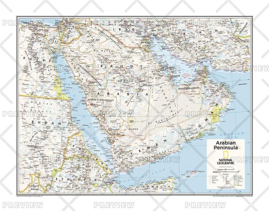 Arabian Peninsula Atlas Of The World 10Th Edition Map