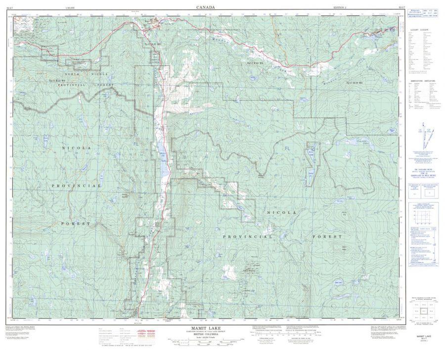 Mamit Lake - 92 I/7 - British Columbia Map