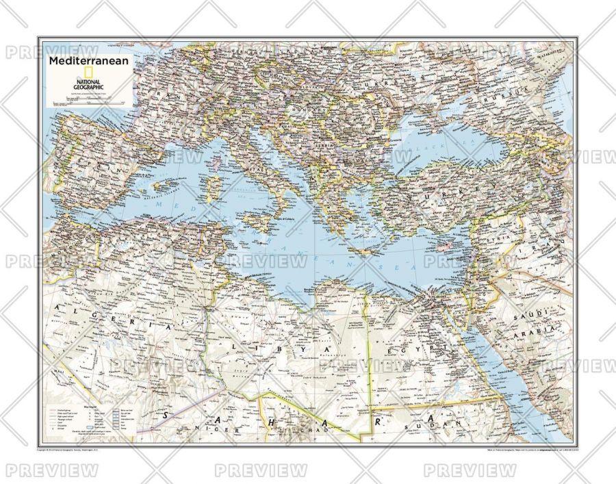 Mediterranean Region Atlas Of The World 10Th Edition Map