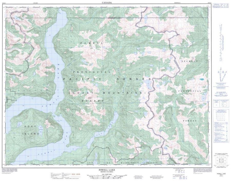 Powell Lake - 92 K/1 - British Columbia Map