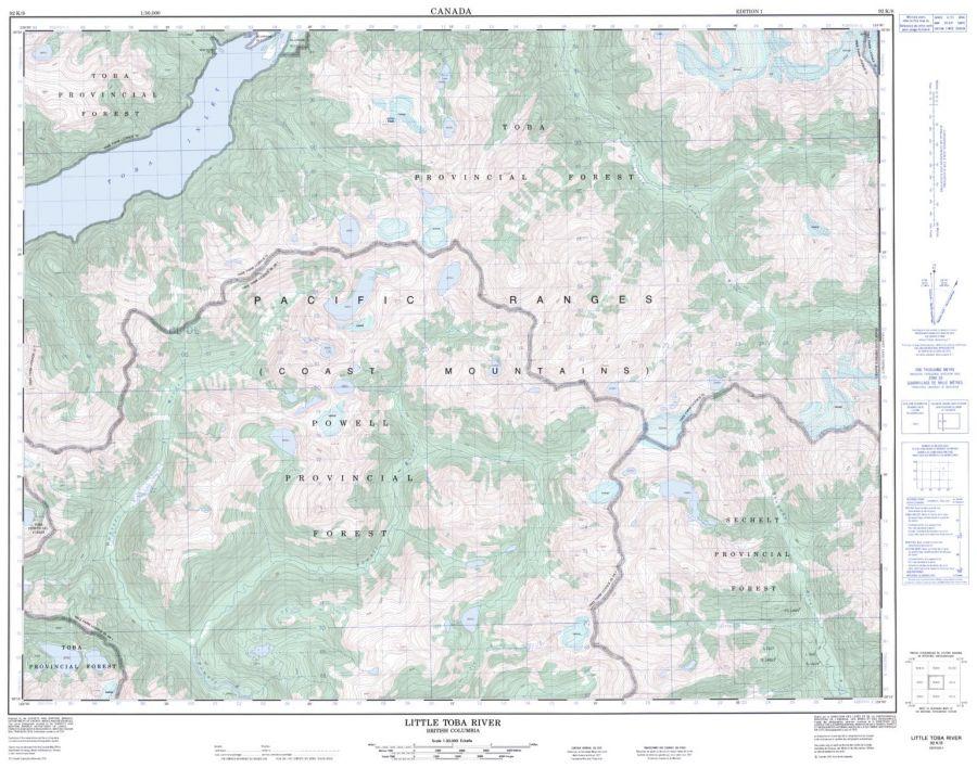 Little Toba River - 92 K/8 - British Columbia Map
