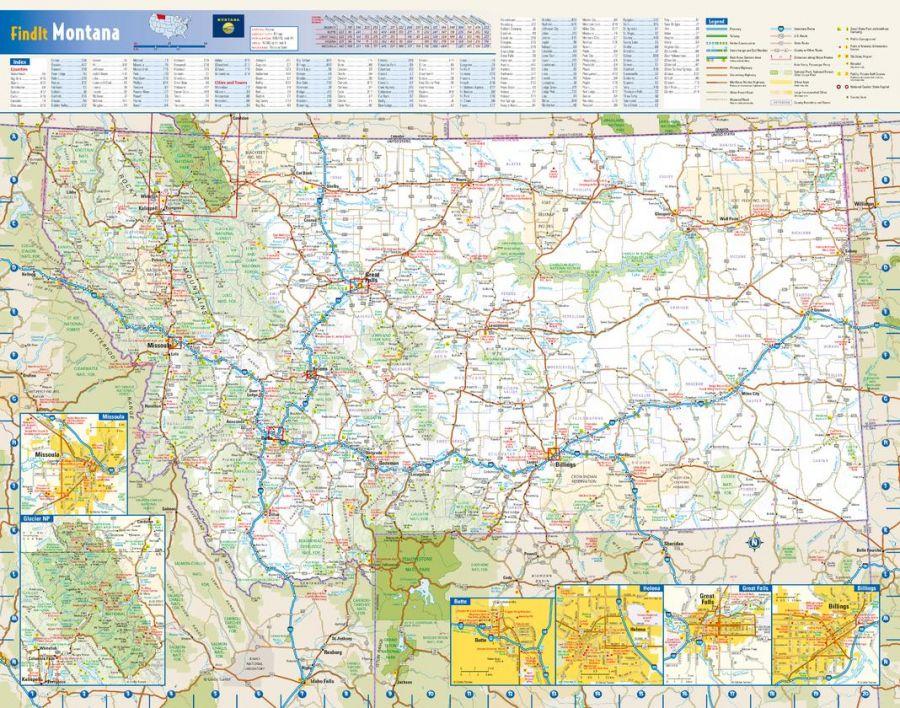 Montana State Wall Map