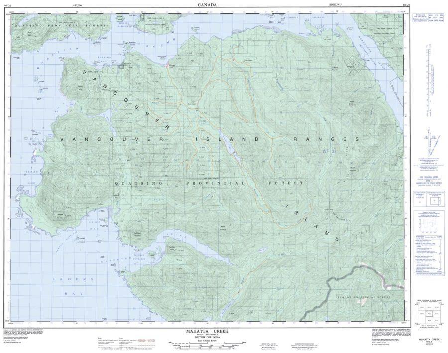 Mahatta Creek - 92 L/5 - British Columbia Map