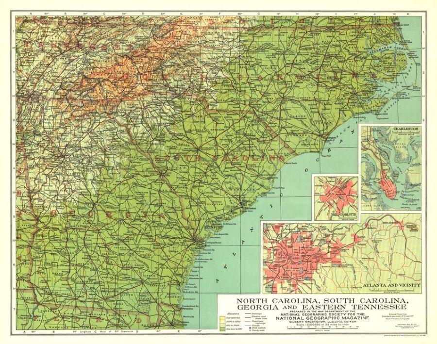 North Carolina South Carolina Georgia And Eastern Tennessee Published 1926 Map
