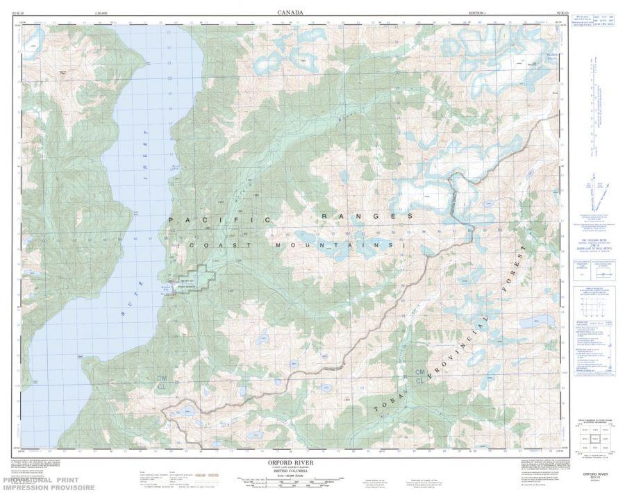 Orford River - 92 K/10 - British Columbia Map