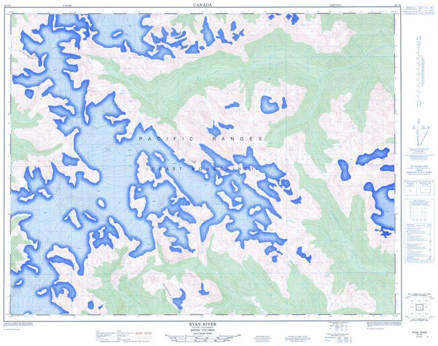 Ryan River - 92 J/6 - British Columbia Map