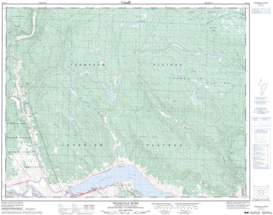 Tranquille River - 92 I/15 - British Columbia Map