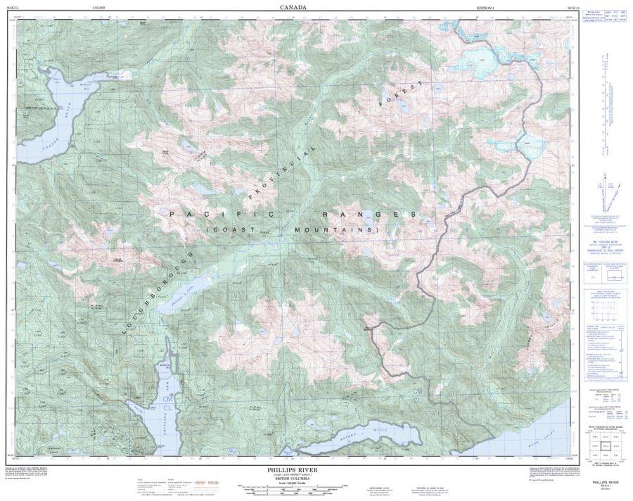 Phillips River - 92 K/11 - British Columbia Map