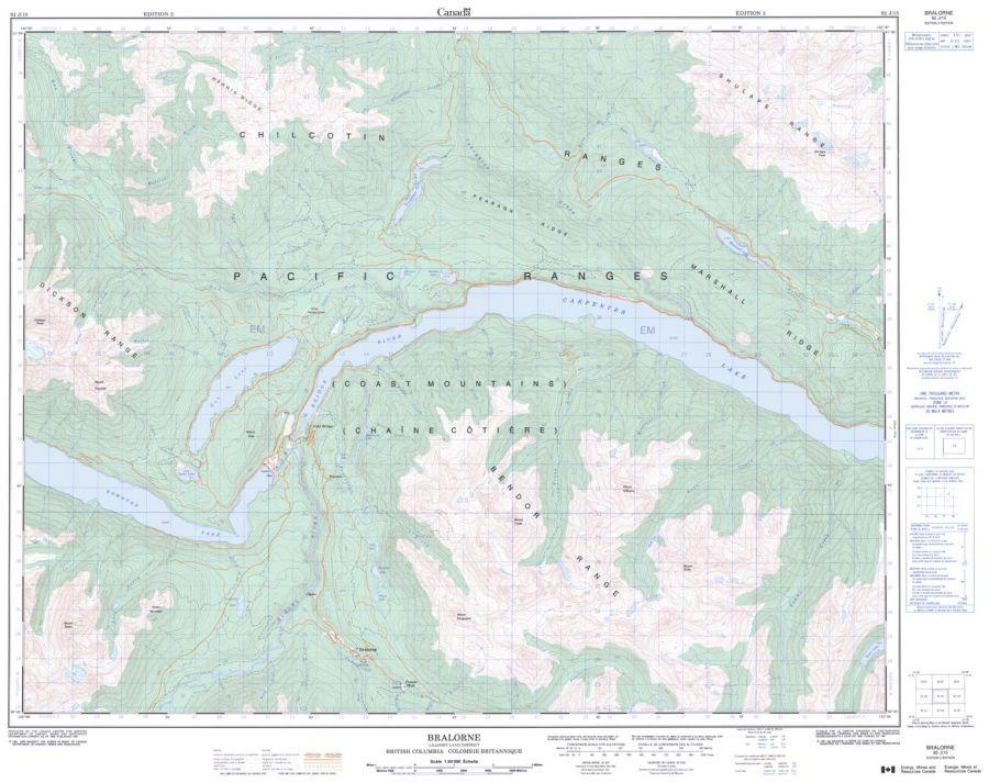 Bralorne - 92 J/15 - British Columbia Map