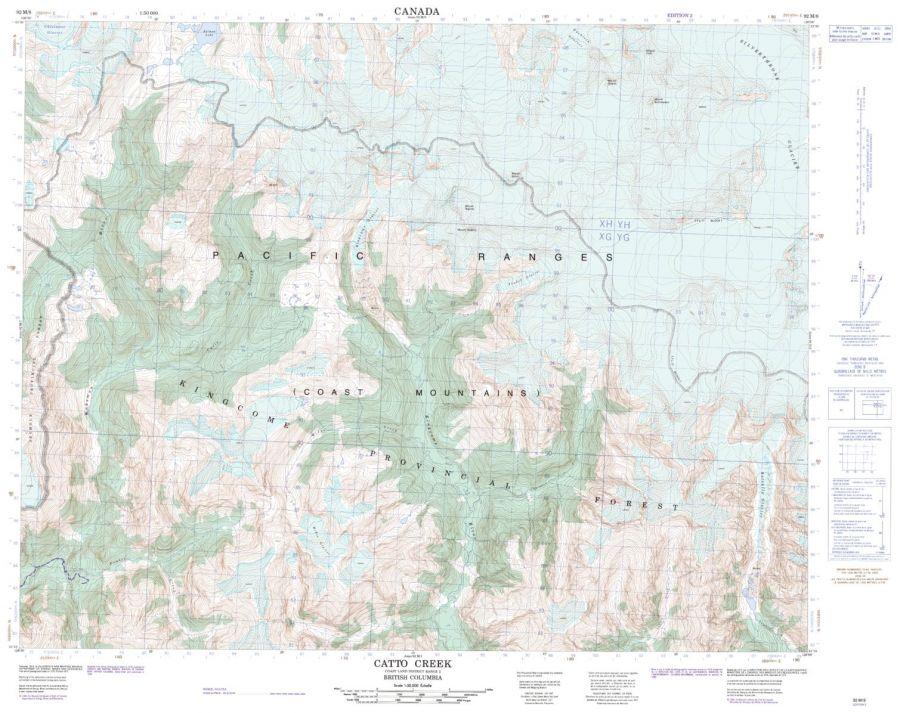 Catto Creek - 92 M/8 - British Columbia Map