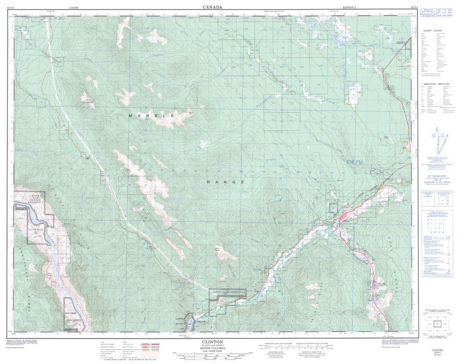 Clinton - 92 P/4 - British Columbia Map