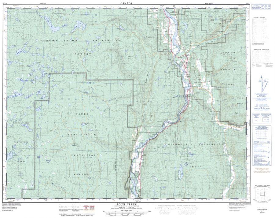 Louis Creek - 92 P/1 - British Columbia Map