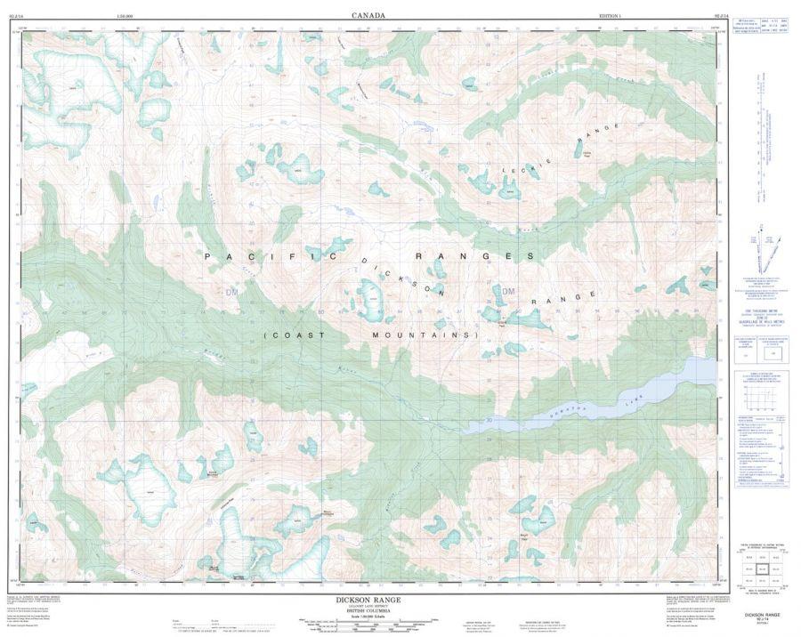 Dickson Range - 92 J/14 - British Columbia Map
