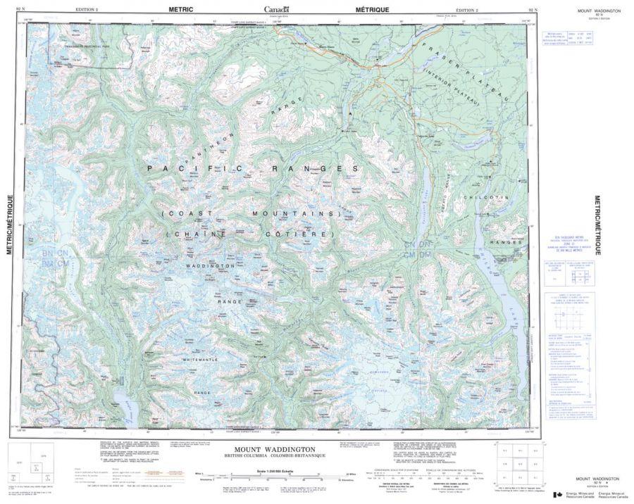 Mount Waddington - 92 N - British Columbia Map