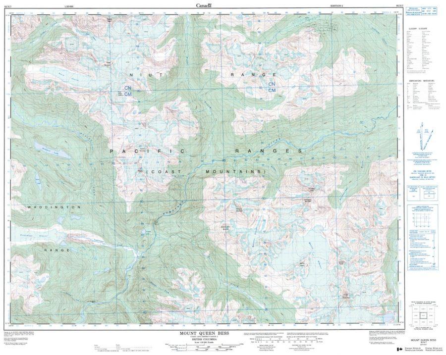 Mount Queen Bess - 92 N/7 - British Columbia Map